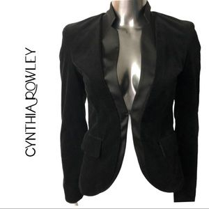 Cynthia Rowley Fitted Velvet Tuxedo Jacket